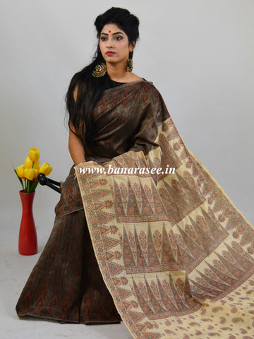 Banarasee Art Silk Saree With Floral Woven Design Contrast Beige Pallu-Dark Brown