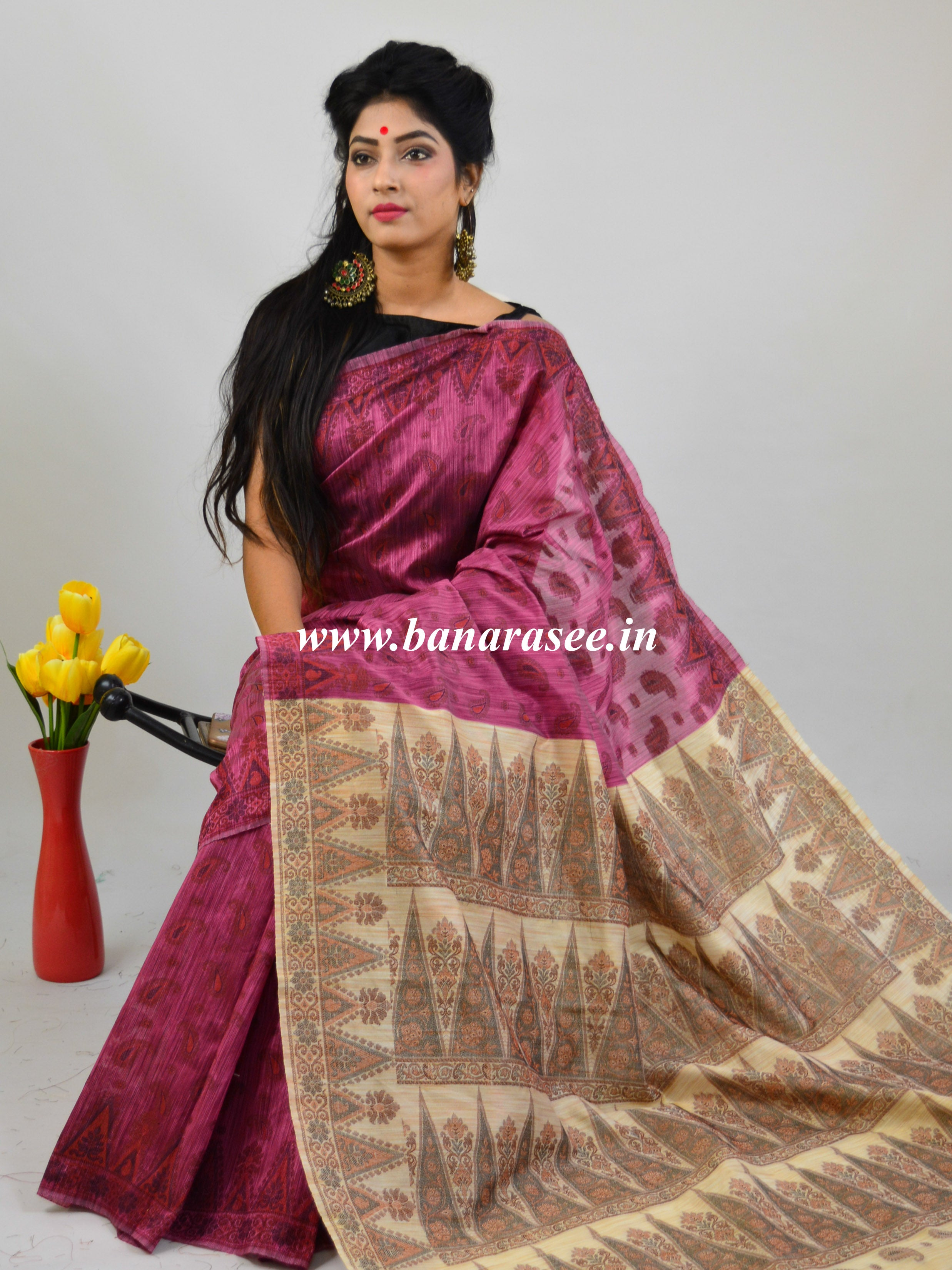 Banarasee Art Silk Saree With Floral Woven Design Contrast Beige Pallu-Pink
