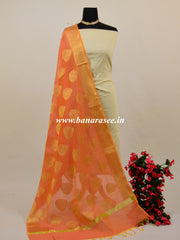 Banarasee Chanderi Cotton Buta Design Dupatta-Peach
