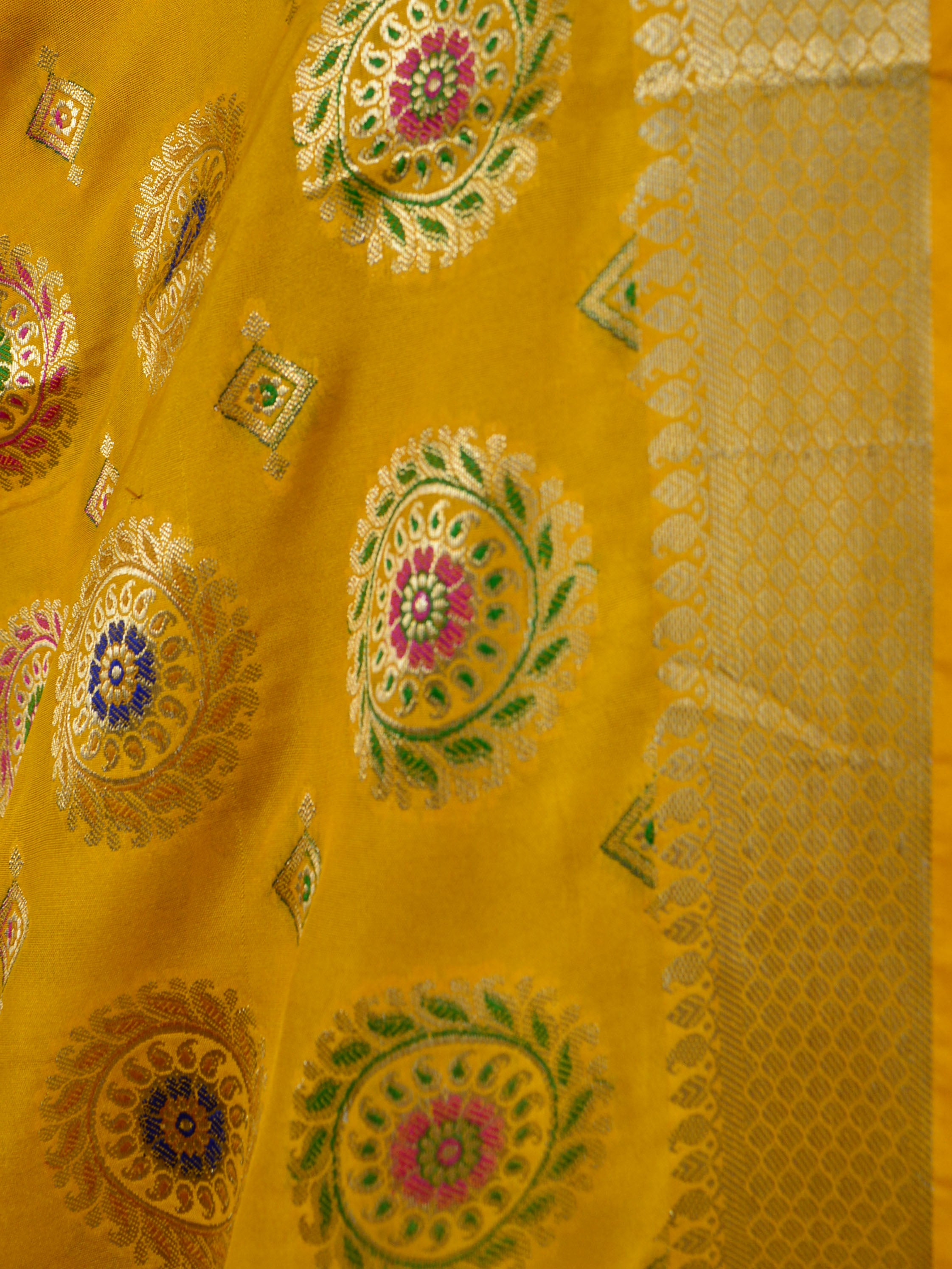 Banarasee Art Silk Dupatta With Multicolor Buta Design-Yellow