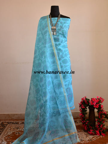 Banarasee Cotton Salwar Kameez Hand-Printed Fabric-Sky Blue