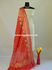 Banarasee Chanderi Cotton Dupatta With Floral Border Design-Red