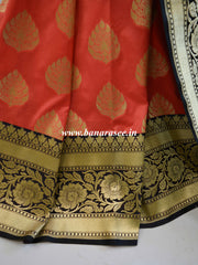 Banarasee Handwoven Buta Design & Black Floral Border Art Silk Saree-Peach