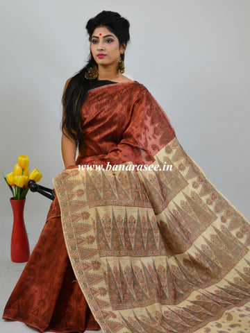 Banarasee Art Silk Saree With Floral Woven Design Contrast Beige Pallu-Rust
