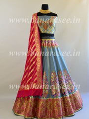 Banarasee Handwoven Art Silk Unstitched Lehenga & Blouse Fabric With Meena Work-Grey