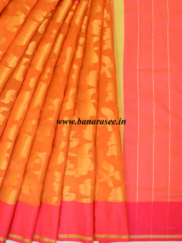 Banarasee Organza Mix Saree With Zari Jaal & Satin Border-Orange
