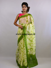 Banarasee Handloom Chanderi Shibori Dyed Saree With Contrast Green Blouse-Off White