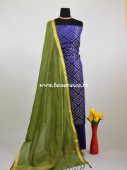 Banarasee Cotton Silk Salwar Kameez Fabric With Contrast Dupatta-Violet