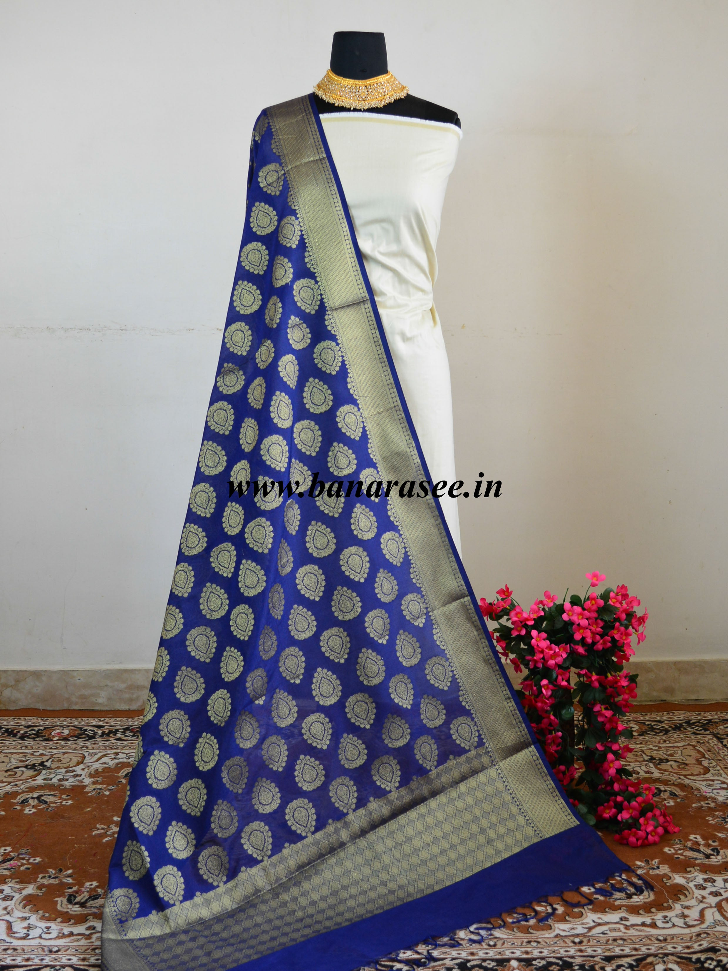 Banarasee Art Silk Zari Buta Design Dupatta-Deep Blue