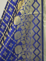 Banarasee Chanderi Cotton Dupatta With Floral Border Design-Blue