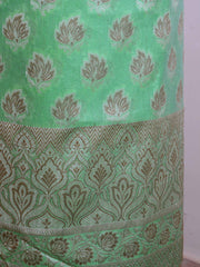 Banarasee Salwar Kameez Cotton Silk Resham Buti Woven Fabric-Green