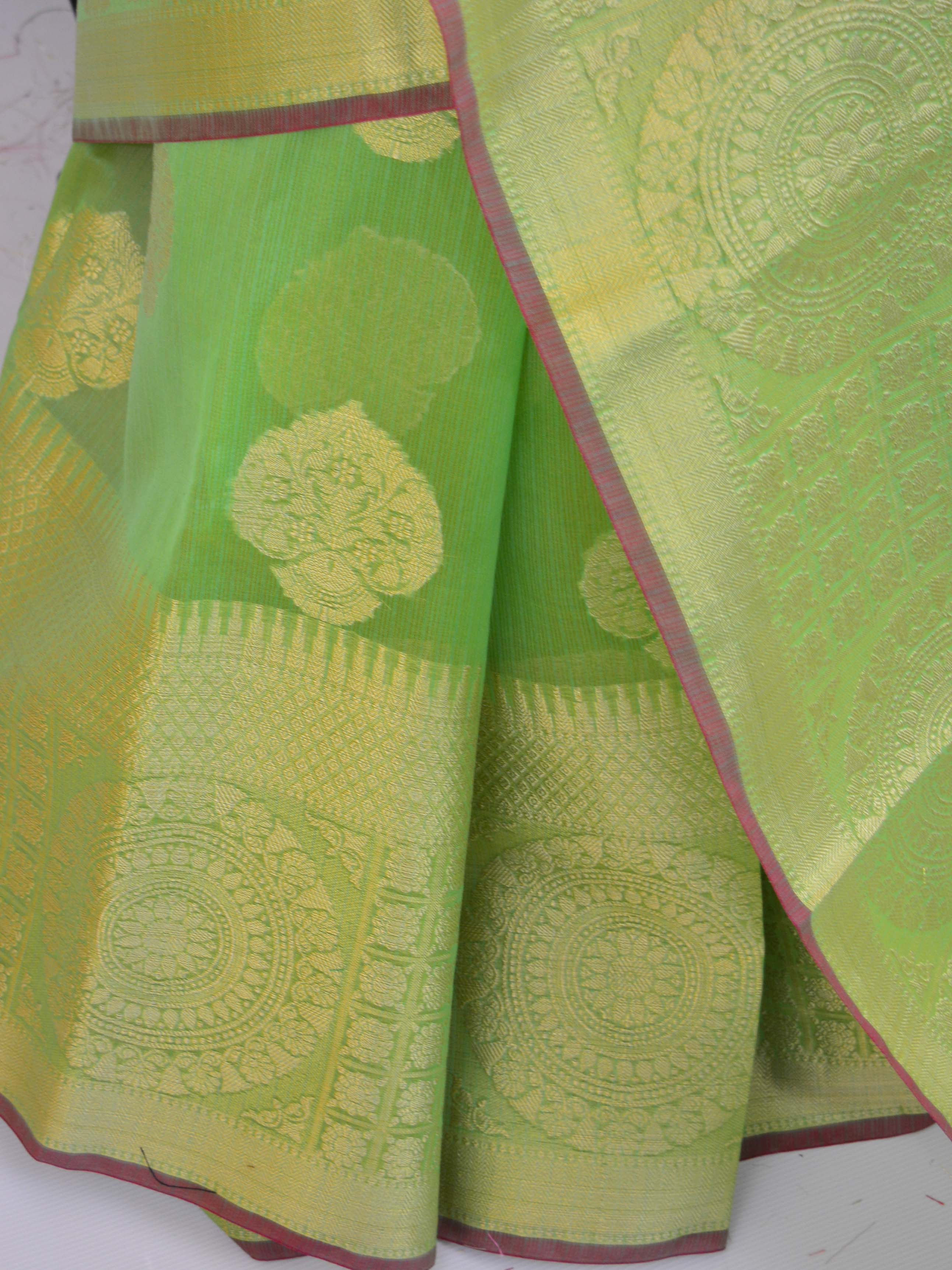 Banarasee Handloom Cotton Silk Mix Broad Border Sari-Green(Dual Tone)