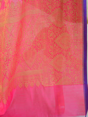 Banarasee Chanderi Cotton Dupatta With Copper Zari Design-Pink