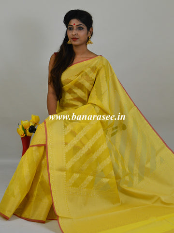 Banarasee Handloom Cotton Silk Mix Stripes Design Sari-Yellow
