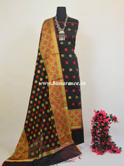 Banarasee Chanderi Cotton Salwar Kameez Fabric With Flower Buti-Black