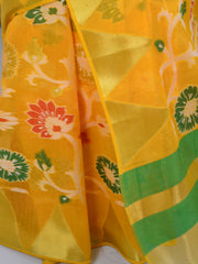 Banarasee Cotton Silk Saree Resham Floral Jaal Design-Yellow