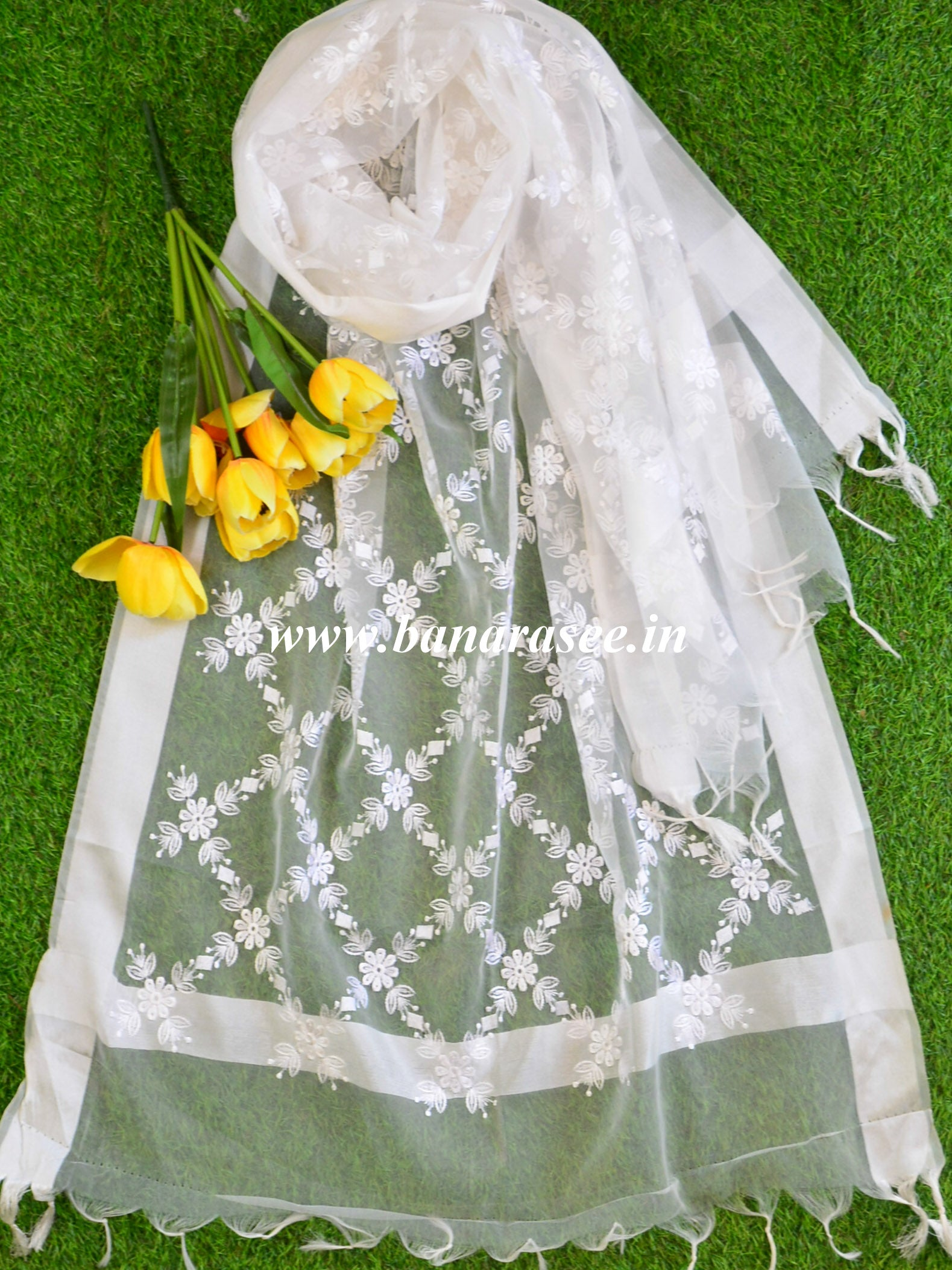 Banarasee Embroidered Resham Jaal Design Organza Dupatta-White