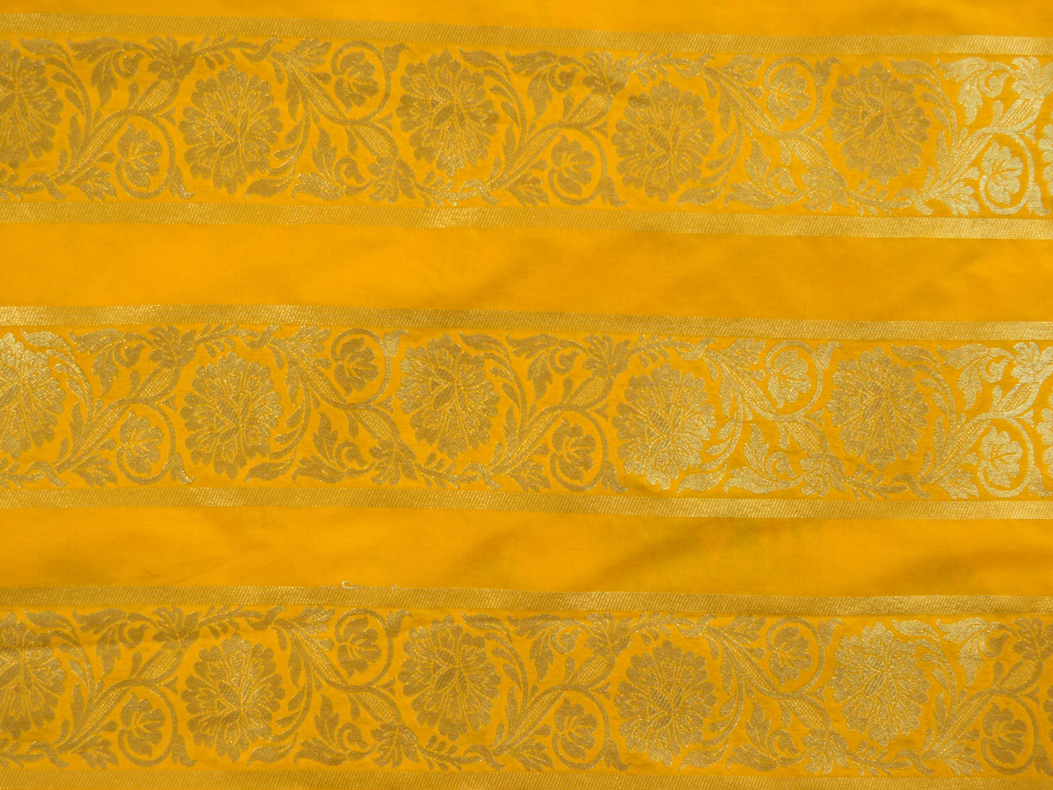 Banarasee Handwoven Art Silk Unstitched Lehenga & Blouse Fabric With Meena Work-Yellow