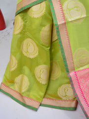 Banarasee Cotton Silk Mix Saree With Big Round Resham Buta-Pastel Green