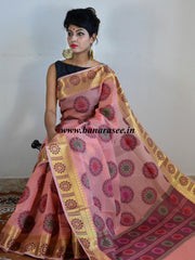 Banarasee Super Net Saree With Chakra Design & Zari Border-Peach