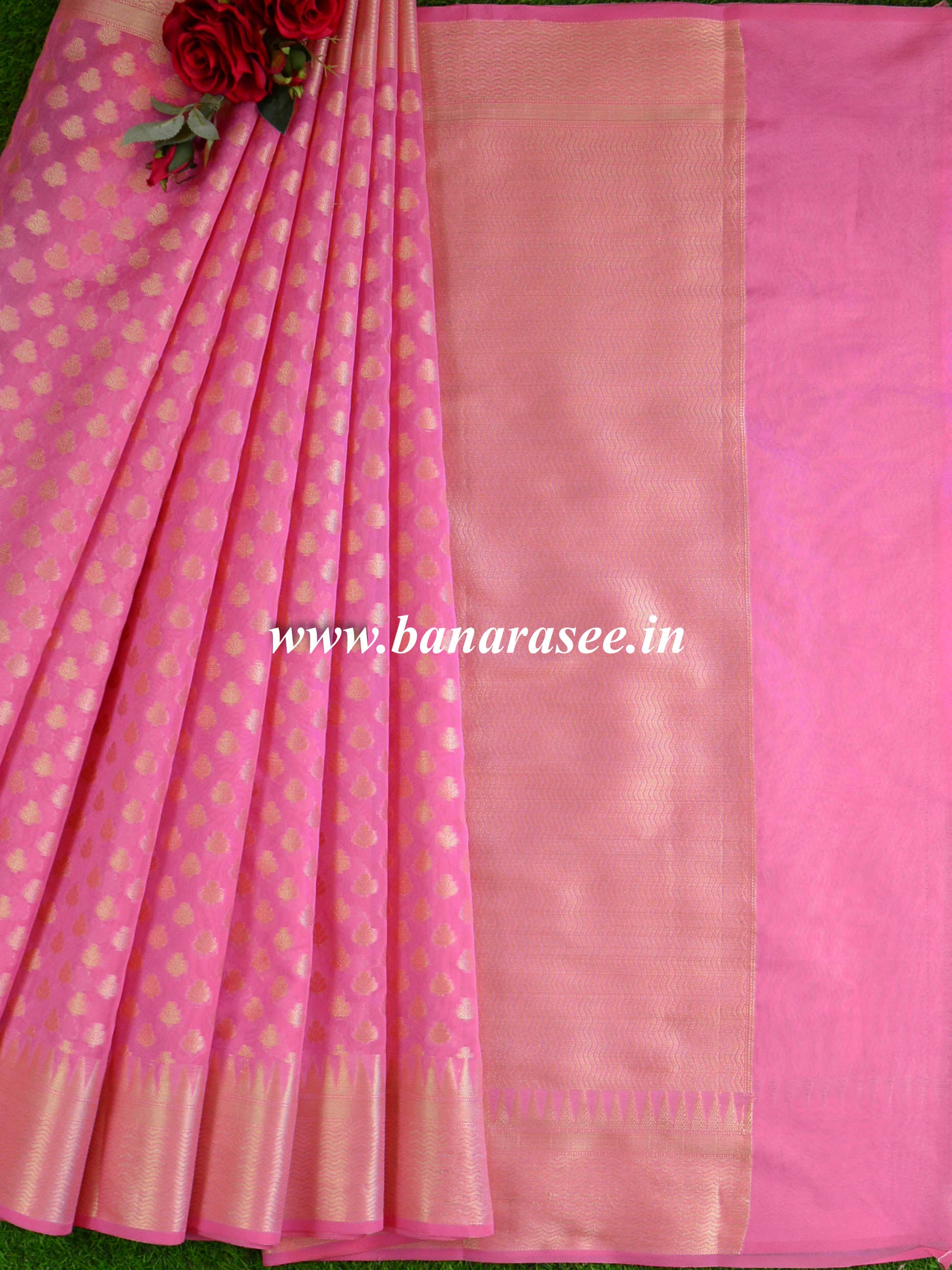 Banarasee Cotton Silk  Saree With Zari Buti & Border-Baby Pink