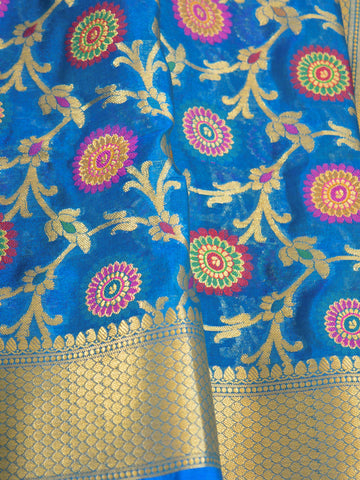 Banarasee Faux Georgette Saree With Meena Floral Jaal Work-Blue