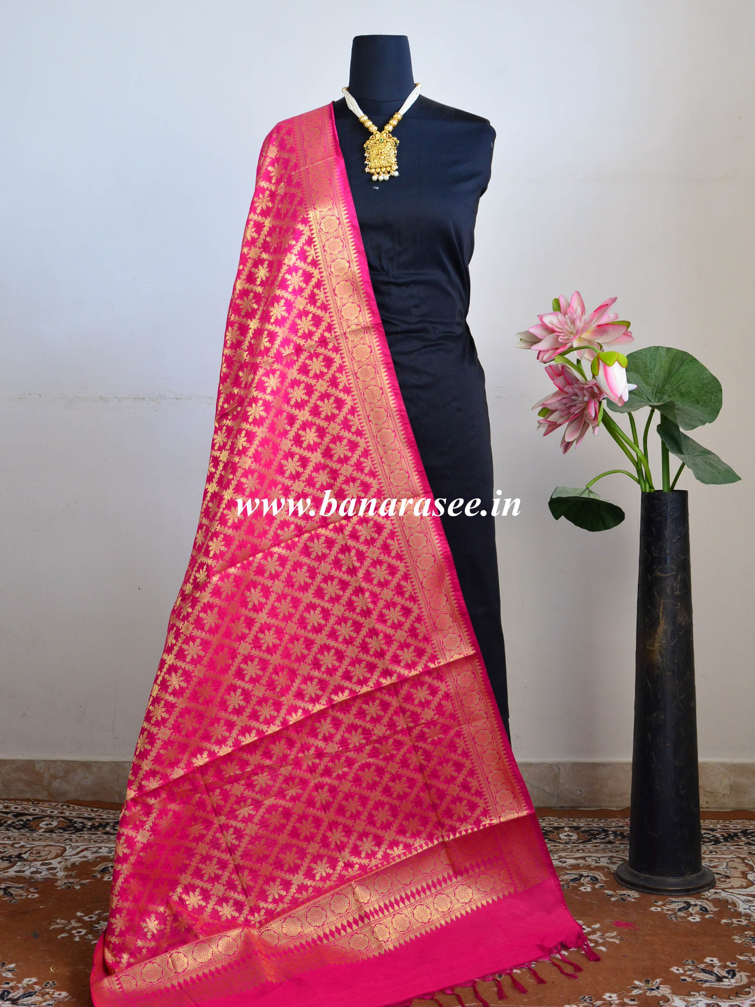 Banarasee Art Silk Dupatta With Jaal Design-Hot Pink
