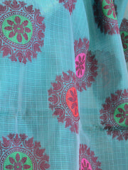 Banarasee Super Net Saree With Chakra Design & Zari Border-Sea Green