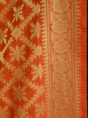 Banarasee Art Silk Dupatta With Jaal Design-Orange