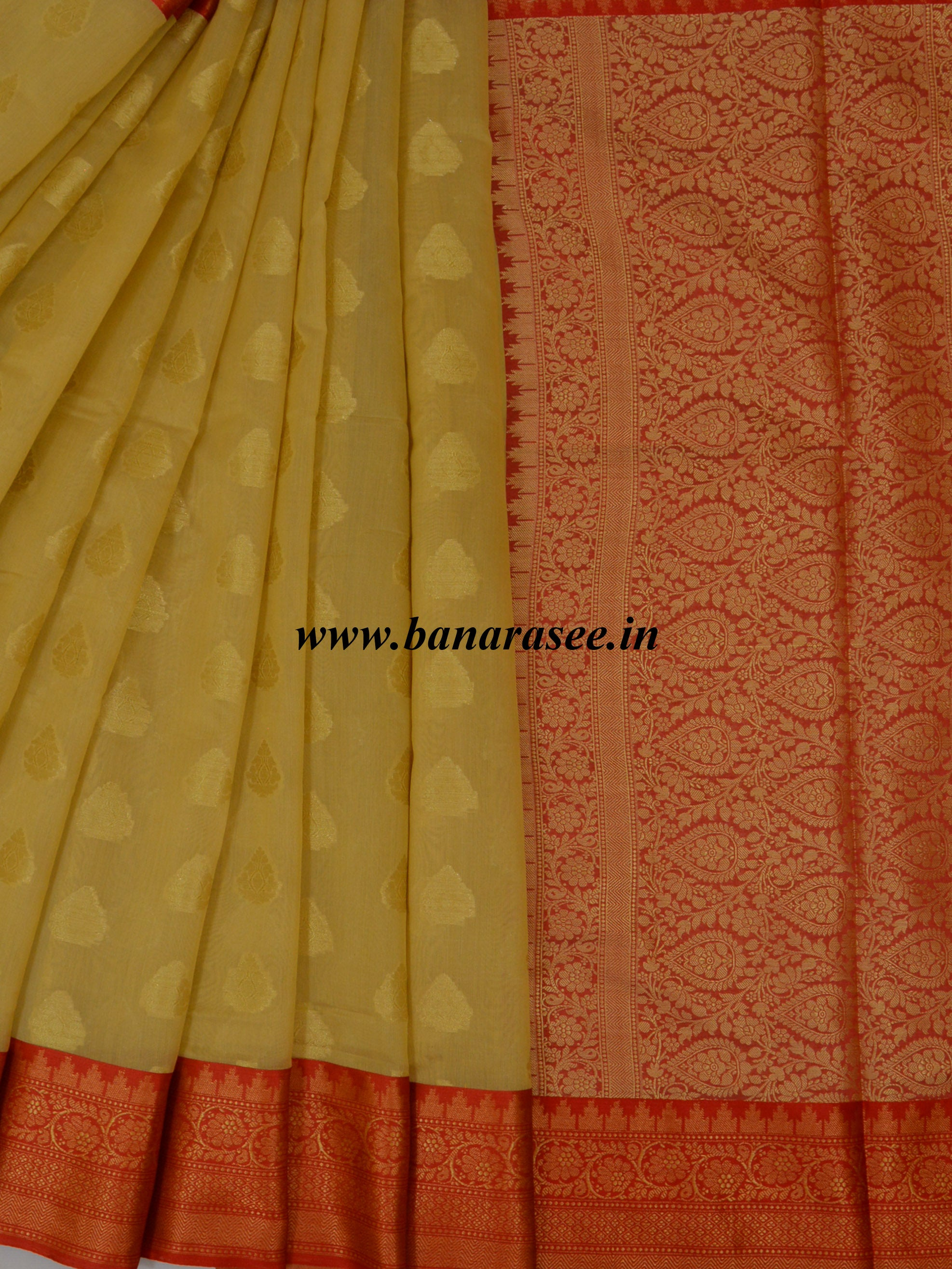 Banarasee Chanderi Cotton Saree With Red Satin Border-Beige