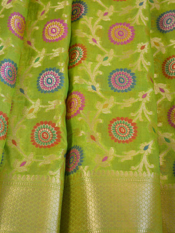Banarasee Faux Georgette Saree With Meena Floral Jaal Work-Lime Green