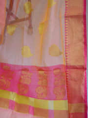 Banarasee Handloom Silk Cotton Saree With Zari Buti & Contrast Floral Border-Peach