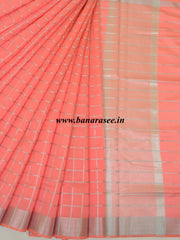 Banarasee Cotton Silk Mix Saree With Silver Zari Design-Peach