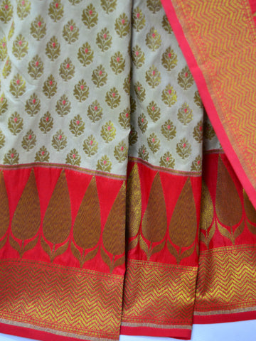 Banarasee Art Silk Saree With Antique Zari Work-Off White