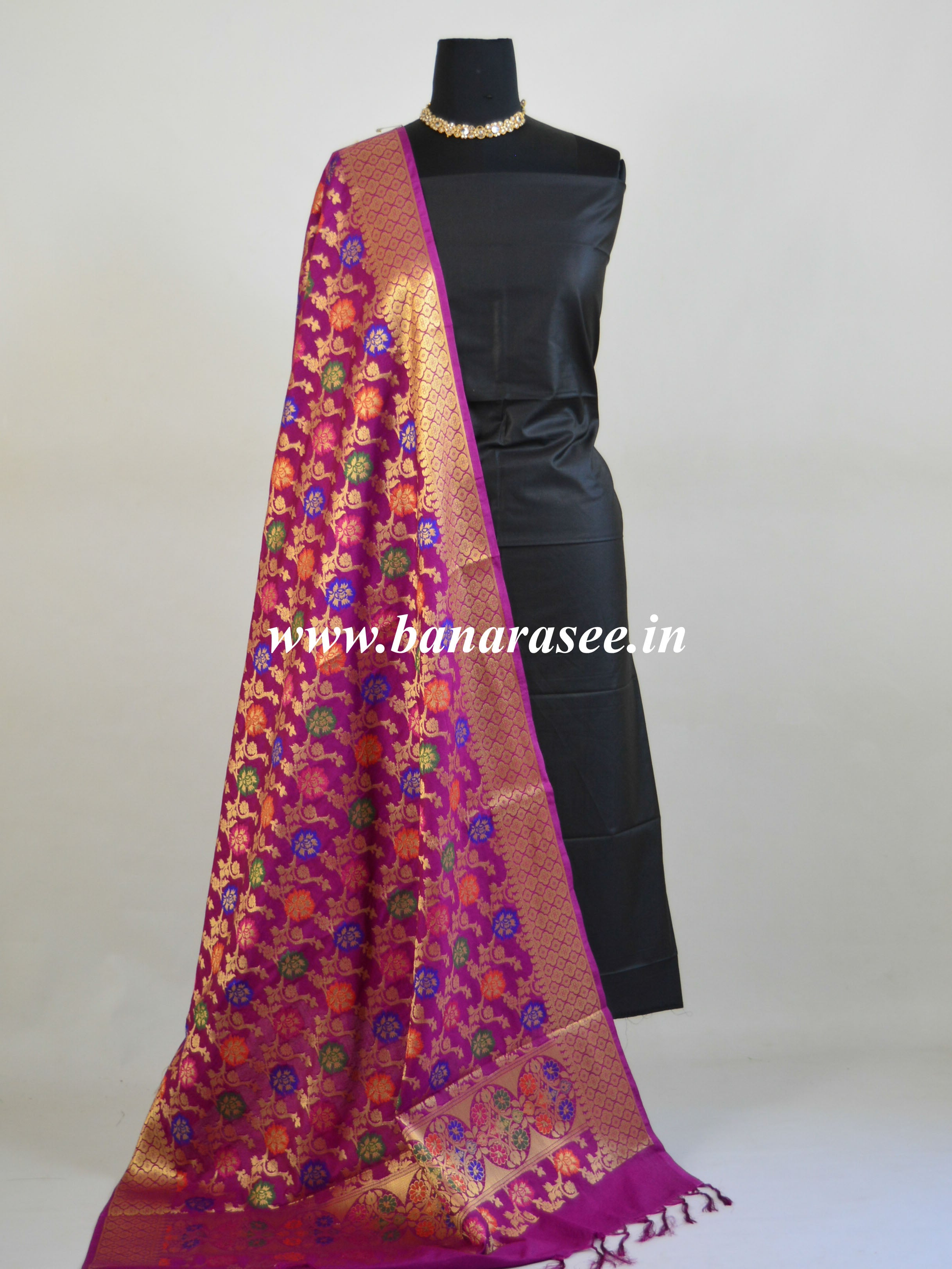 Art Silk Dupatta With Meena Work Flower Jaal Design-Magenta