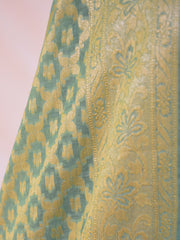 Banarasee Salwar Kameez Cotton Silk Gold Zari Buti Woven Fabric-Pastel Green