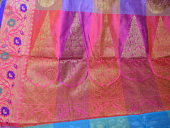 Banarasee Cotton Silk Mix Saree With Checks & Antique Gold Zari Work Border-Multicolor