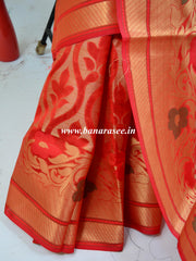 Banarasee Handwoven Cotton Silk Floral Jaal Design Saree With Zari Border-Red