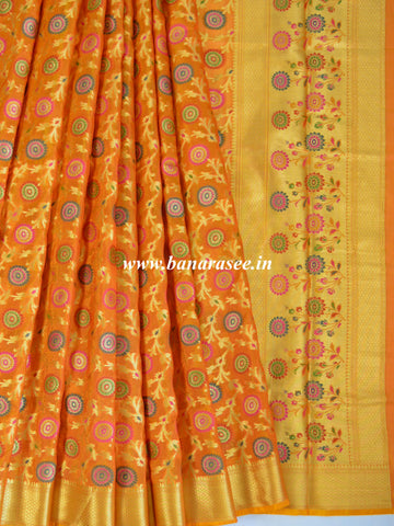 Banarasee Faux Georgette Saree With Meena Floral Jaal Work-Gold