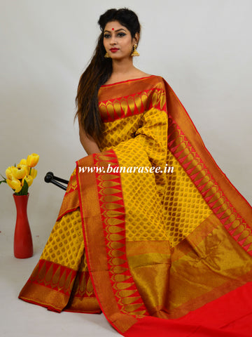Banarasee Art Silk Saree With Antique Zari Work-Yellow