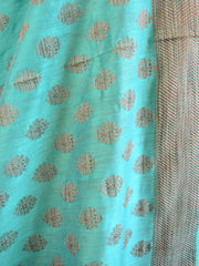 Banarasee Salwar Kameez Soft Cotton Ghicha Jaal Fabric & Dupatta-Mustard With Green