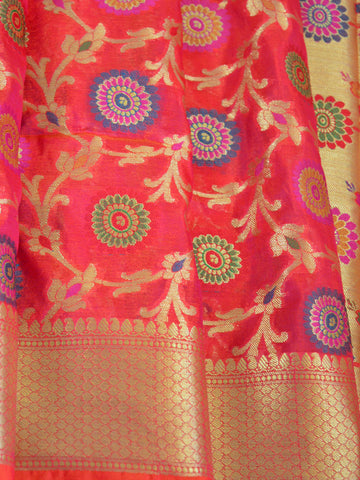 Banarasee Faux Georgette Saree With Meena Floral Jaal Work-Pink(Red Tone)
