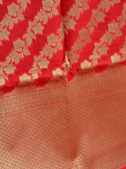 Banarasee Art Silk Dupatta With Floral Stripes Design-Red