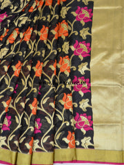 Banarasee Handwoven Faux Georgette Upadda Saree With Resham & Zari Floral Work-Black