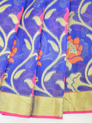 Banarasee Handwoven Faux Georgette Upadda Saree With Resham & Zari Floral Work-Royal Blue
