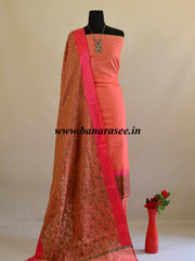 Banarasee Salwar Kameez Soft Cotton Resham Woven Fabric & Dupatta-Peach