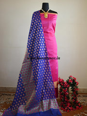 Banarasee Cotton Silk Salwar Kameez With Floral Dupatta-Blue & Pink