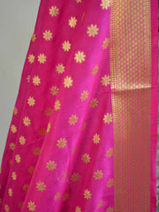 Banarasee Handwoven Satin Brocade Salwar Kameez Fabric & Pink Art Silk Dupatta-Green