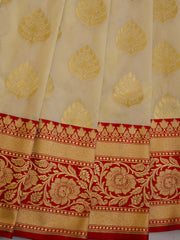 Banarasee Handwoven Buta Design & Floral Border Art Silk Saree-Off White