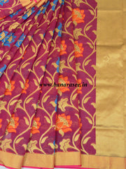 Banarasee Handwoven Faux Georgette Upadda Saree With Resham & Zari Floral Work-Wine
